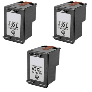 3 Pack HP 63XL F6U64AN Black High Yield Ink Cartridge