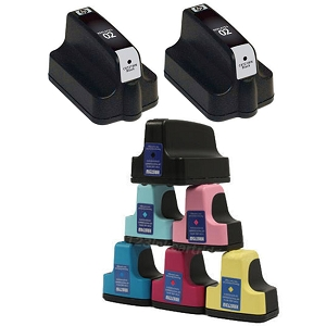 8 Pack HP 02 PhotoSmart 3110, 3210, 3310, 8250, C5100, C7200, D7100, D7400 Inkjet Cartridges