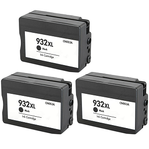 3 Pack HP 932XL CN053AN Black Compatible High Yield Inkjet Cartridge