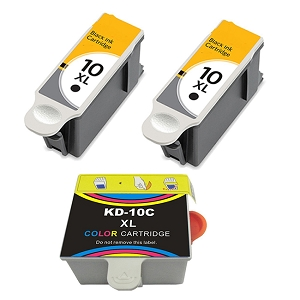 3 Pack Kodak 10XL 8965 Black 8966 Color Compatible High Yield Ink Cartridges