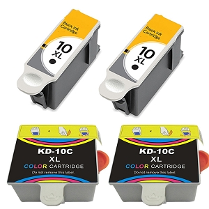 4 Pack Kodak 10XL 8965 Black 8966 Color Compatible High Yield Ink Cartridges