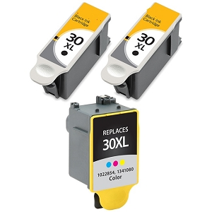 3 Pack Kodak 30XL 1550532 Black 1341080 Color Compatible High Yield Ink Cartridges