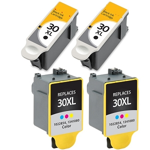 4 Pack Kodak 30XL 1550532 Black 1341080 Color Compatible High Yield Ink Cartridges