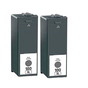 2 Pack Lexmark 100XL 14N1068 14N1053 Black Compatible High Yield Ink Cartridge Impact S301 S305