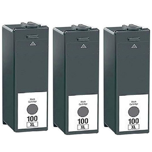 3 Pack Lexmark 100XL 14N1068 14N1053 Black Compatible High Yield Ink Cartridge Impact S301 S305