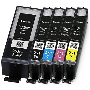 5 Pack Canon PGI-255XXL Black Extra High Yield and CLI-251XL C/Y/M/BK High Yield Ink Cartridges