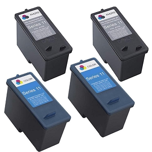 4 Pack Dell Series 11 CN594 Black CN596 Tri-Colour V505 V505w 948 Remanufactured Ink Cartridges