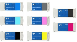 8 Pack HP 91 DesignJet Z6100, DesignJet Z6100PS Pigment Remanufactured Inkjet Cartridges