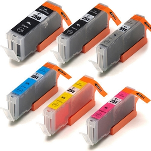 6 Pack Canon PGI-250XL Black and CLI-251XL BK/C/Y/M/GY High Yield Ink Cartridges