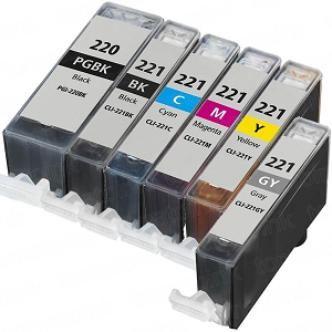 6 Pack Canon PGI-220BK CLI-221 PIXMA MP980, PIXMA MP990 Inkjet Cartridges