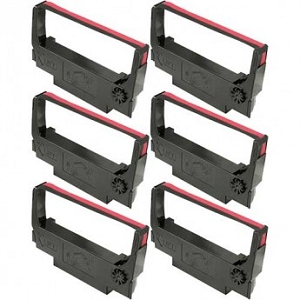 Epson ERC-30 ERC-34  ERC-38  Black/Red  POS Ribbon  (6 Pack )