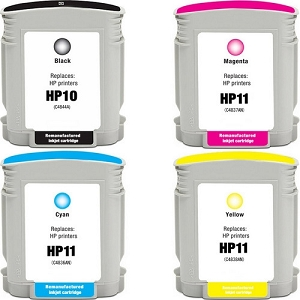 4 Pack HP10 Black HP11 C/M/Y Compatible Inkjet Cartridges