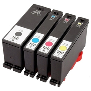 Lexmark 100XL 4 Pack Black Cyan Magenta Yellow Ink Cartridges High Yield
