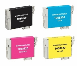 4 Pack Epson T068 Stylus C120, NX510, WorkForce 40, WorkForce 1100 Inkjet Cartridges