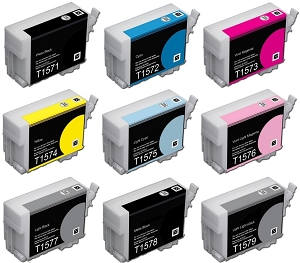 9 Packs Compatible Replacement ink for Epson T1571-1579 Epson R3000 printer