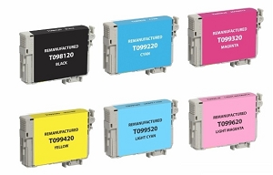 6 Pack Epson T098 T099 BK/C/M/Y/LC/LM Compatible Ink Cartridges Artisan 700 710 725 730 800 810 835 837