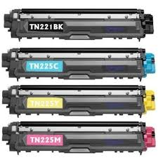 Brother TN221/TN225 TN-221/TN-225 4 Pack Toner Cartridges HL-3140CW HL-3170CDW HL-3180CDW  MFC-9130CW MFC-9330CDW MFC-9340CDW