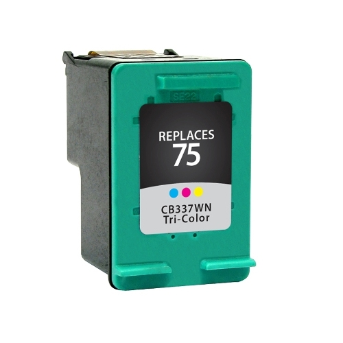 HP 75 CB337WN Tri-Color Remanufactured Inkjet Cartridge