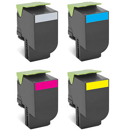 4 Pack Lexmark 801S CX310, CX410, CX510 Compatible Standard Yield Toner Cartridges