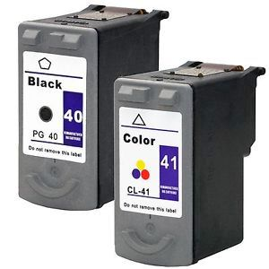 2 Pack Canon PG-40 Black CL-41 Tri-Color Inkjet Cartridges