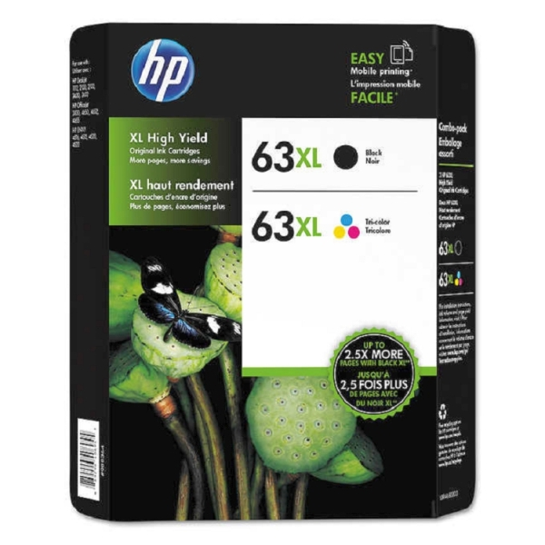 2 Pack Brand New Original HP 63XL F6U64AN Black and F6U63AN Tri-Color High Yield Ink Cartridges
