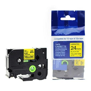 Brother TZe-651 Label Tape, 24mm (0.94'), Black on Yellow, Compatible