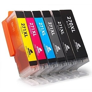 6 Pack Canon PGI-270XLBK Black and CLI-271XL GY/C/Y/M/BK High Yield Ink Cartridges